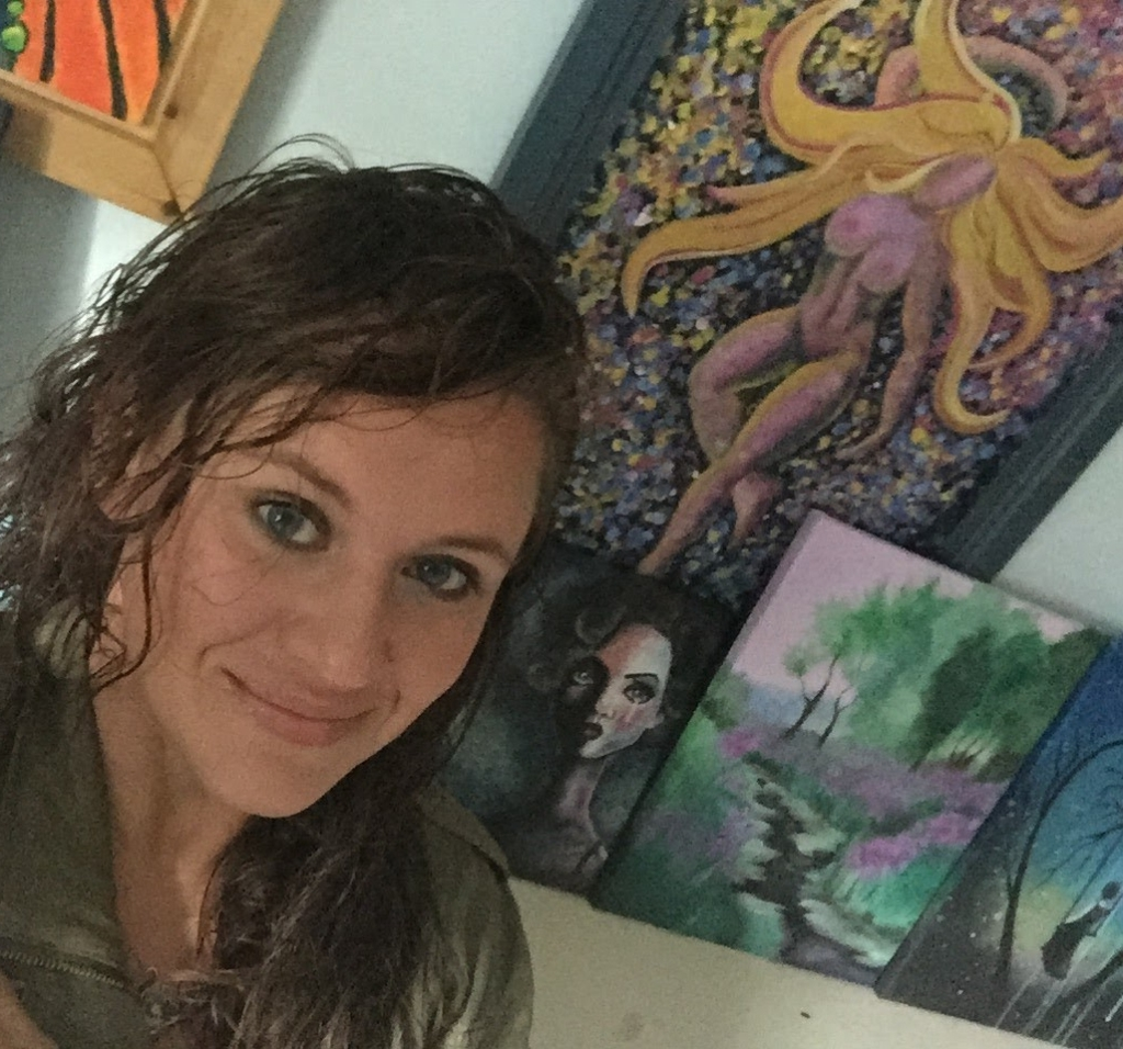 Kate Porter with artwork, 2015